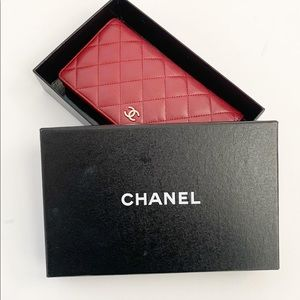 Chanel Lambskin Quilted Yen Wallet In Red